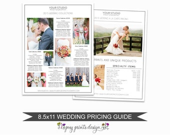 Wedding Photographer Price List - Wedding Pricing Guide Template - Photoshop Marketing Materials - 8.5x11 Wedding Price Sheet - PGT01