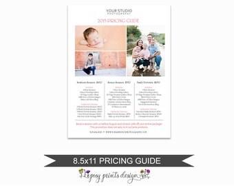 Photographer Price List - Portrait Pricing Guide Template - Photoshop Marketing Materials - 8.5x11  Senior Price Sheet - PGT06