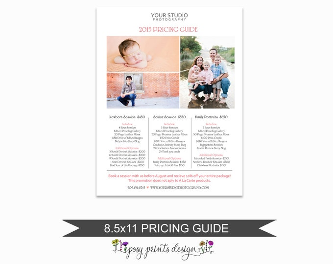 Photographer Price List - Portrait Pricing Guide Template - Photoshop Marketing Materials - 8.5x11  Senior Price Sheet - PGT06