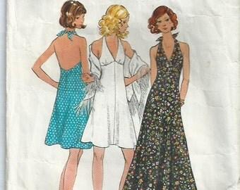 Halter Neck Dress in Three Lengths - Butterick Pattern 6634 - 1972