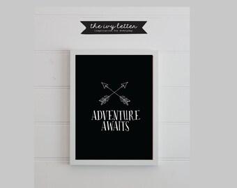 ADVENTURE AWAITS...Wall Art, Boys Bedroom Wall Prints, Nursery Wall Art Prints, Room Decor Prints, Instant Download