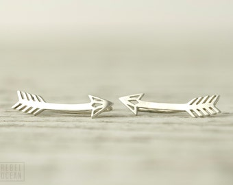 Arrow Earrings Sterling Silver Ear Cuff American Native Ear climber Pin Earrings Boho Jewelry - FES019 T1