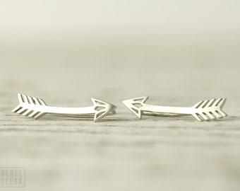 Arrow Earrings Sterling Silver Ear Cuff American Native Ear climber Pin Earrings Boho Jewelry - FES019