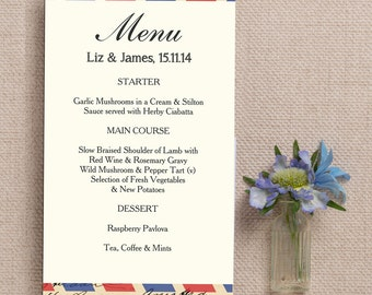 Vintage Airmail Destination Wedding Menu Cards