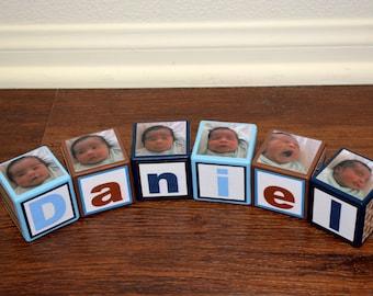 Baby Boy Blocks-Wooden Photo Blocks-Personalized Baby Blocks-Wooden Blocks Baby-Baby Shower Blocks-Blocks Nursery Decor-Kids Blocks