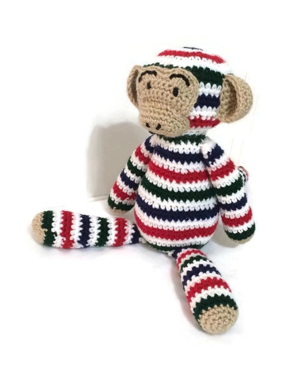 Marty the Monkey Made-To-Order, Custom-Made, Homemade Monkey! Bright, Colorful, Striped, and Cuddly Stuffed Crocheted Monkey.