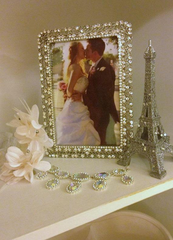 Silver Glitter Eiffel Tower Decoration Wedding Cake Topper