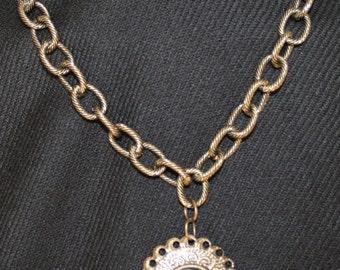 Old Gold Tone Cameo Necklace
