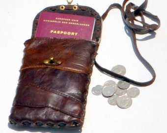 Handmade leather passport holder, travel case
