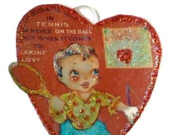 Valentine , Valentine Decoration , Valentine Ornament , Valentine Tennis Boy , Vintage Valentine OOAK