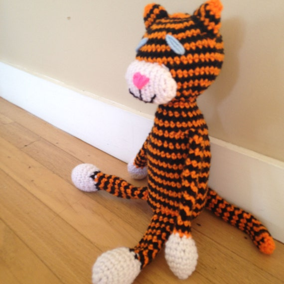 Tiger Doll, Orange and Black Cuddly Kitty Cat Doll, Gift for Child, Tiger Amineko Amigurumi, Childrens Toy, Kids Stuffed Animal, Kids Lovey