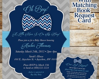 Bowtie Baby Shower Invitation, Little Man Baby Shower Invitation, Oh Boy Baby Shower Invitation, Boy Baby Shower, Chevron