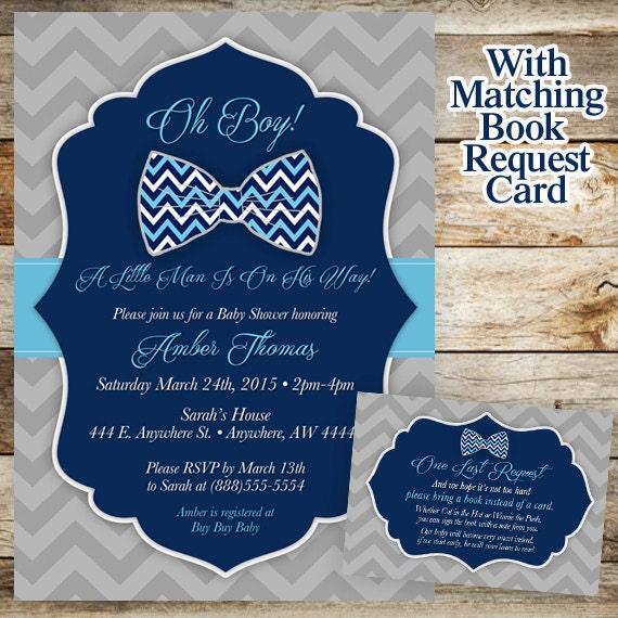 bowtie baby shower | etsy, Baby shower invitations