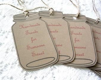 Mason Jar Handmade Sweets Tag - Homemade Food Tags Large - Rustic Gift Tags -