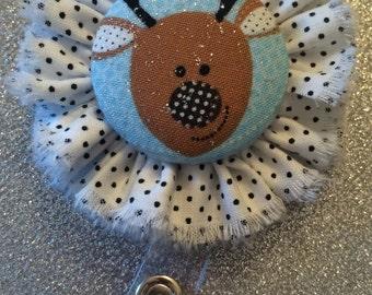 Reindeer Retractable Badge Holder. ID Holder. Reindeer Badge Button.