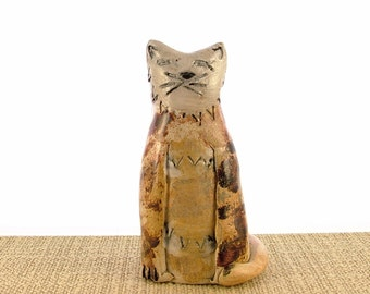 Kitty Cat Stoneware Clay Ornament - Cat Sculpture - Clay Animals - Cat Gifts