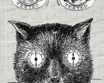 Vintage Steampunk Black Cat with Eyewear Clipart / Antique Victorian Funny Cat Image Printable Graphics - Instant Digital Download Image.