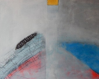 Modern Art Abstract Artwork Mixed Media Collage Acrylic Contemporary Wall Art Painting White grey blue yelow 70 x 50 cm 27.6 x 19.7 in
