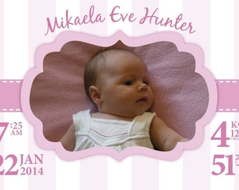 Baby Birth Announcement Personalised Custom Digital File Ready to Print