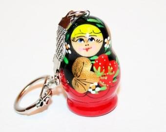 Nesting doll Keychain berry nesting dolls matryoshka trinket babushka doll