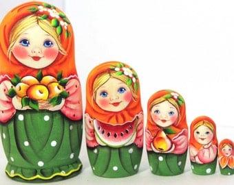 Nesting doll -  Girl with fruit - matryoshka babushka russian dolls -  kod988