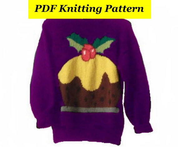 Childrens & Adults Christmas Pudding Jumper / Sweater Knitting