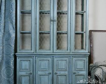 Hand Painted Blue China Cabinet