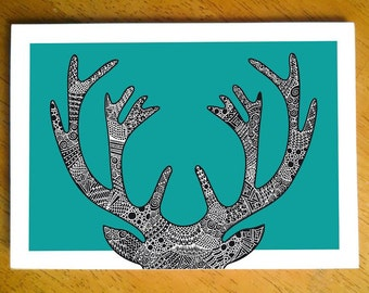 Doodle stag card - blank inside, hand drawn, intricate illustration