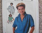 UNCUT Misses Tops - Size 14 to 18 - Simplicity Sewing Pattern 7450 - Vintage 1986