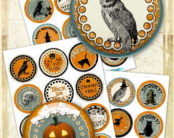 Digital collage sheets THANK YOU HALLOWEEN 2.5 inch circle - hang tags magnet stickers mirrors pendant - instant download printable - tn448
