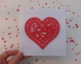 Paper Cut Red Heart Card, Valentine's Paper Cut Card, Anniversary Love Card