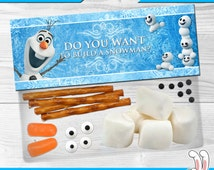 Disney Frozen - Favor Bag Toppers - Birthday Party Decorations / Birthday Party Ideas - Digital Files - for boys and girls - Olaf