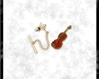 Gold & Cloisonné Violin Tie Tack - Free Shipping