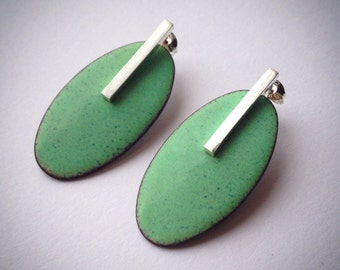 Big Oval Duck EggGreen Studs