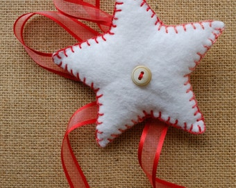 Holiday star felt tree topper - handmade christmas decoration white red