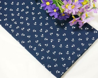blue and white anchor pattern of 100% Cotton Fabric by the yard