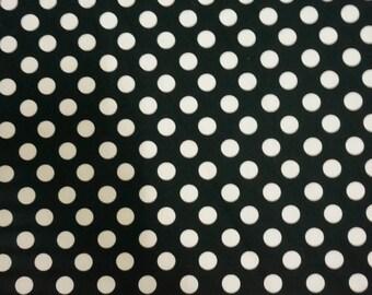 Black Polka Dot cutton fabric , and white background 100% Cotton Fabric by yard, fat quarter, half yard, yard