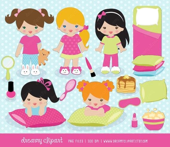 clipart / slumber party clipart / clipart sleepover / pyjamas clipart ...