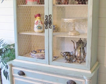 SOLD ****** shabby chic china cabinet/hutch, cottage style, french country, vintage, painted