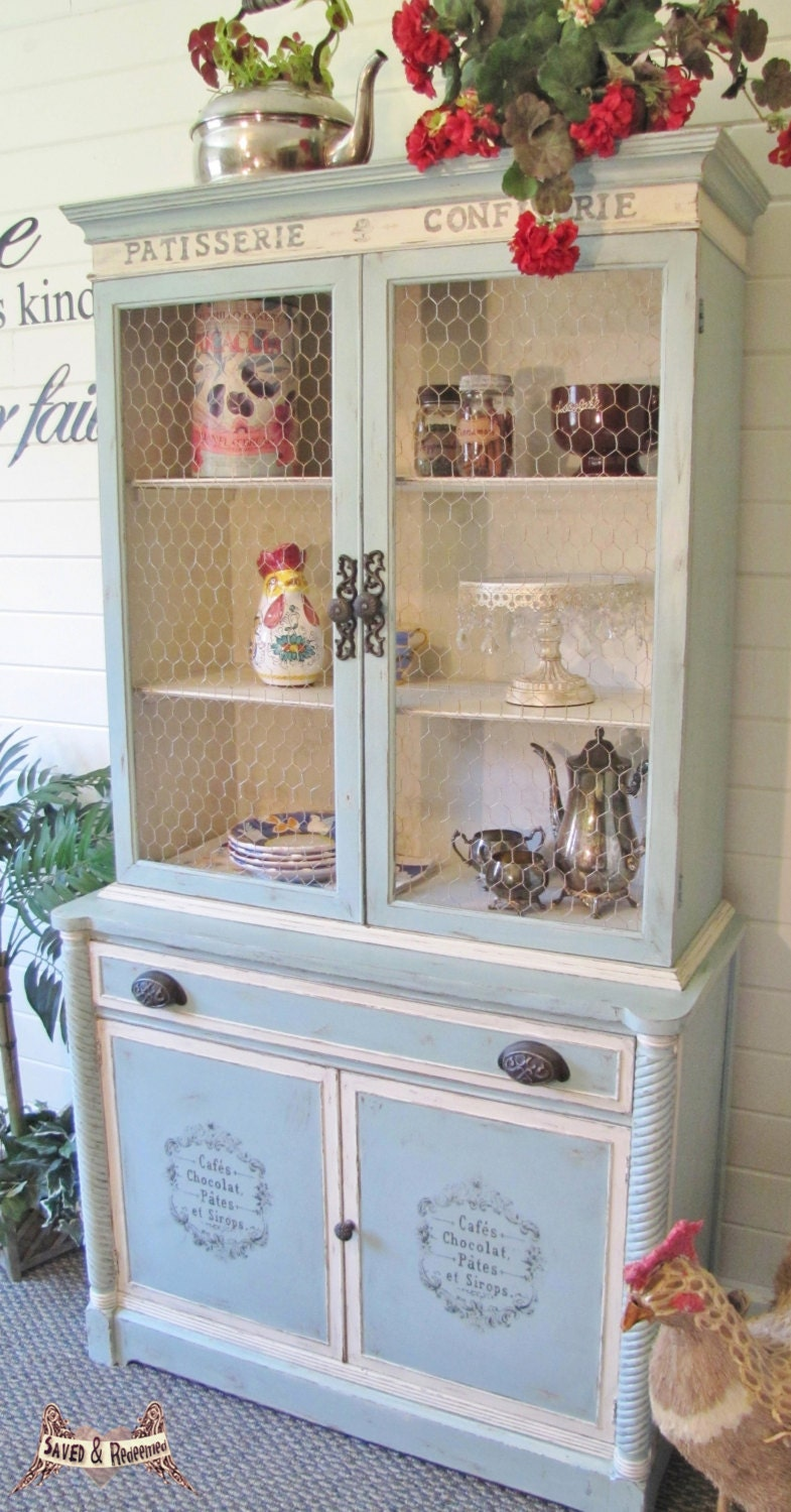 sold shabby chic china cabinet hutch cottage style. Black Bedroom Furniture Sets. Home Design Ideas