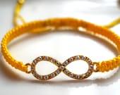 Yellow Infinity Strass Macramé Bracelet