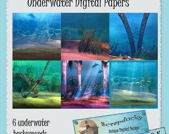 Underwater Digital Background Papers for Scrapbooking or Crafts Instant Download