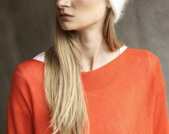 Angora Wool Winter White Fluffy Knitted Beanie Hat / Mohair