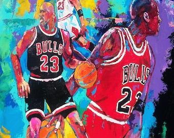 70% SALE - Michael Jordan Fine-Art Canvas Print From An Original Hand-Painted Artwork by Artist to the Stars, Winford