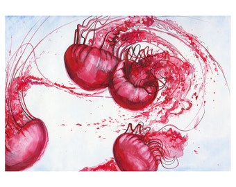 Pink Jellyfish Splashy print from original watercolor and ink painting, Wall art decor