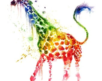 Rainbow Giraffe Print from watercolor painting