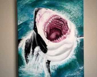 "Original - Great White Splash Acrylic Painting Art size- 24"" x 20"""