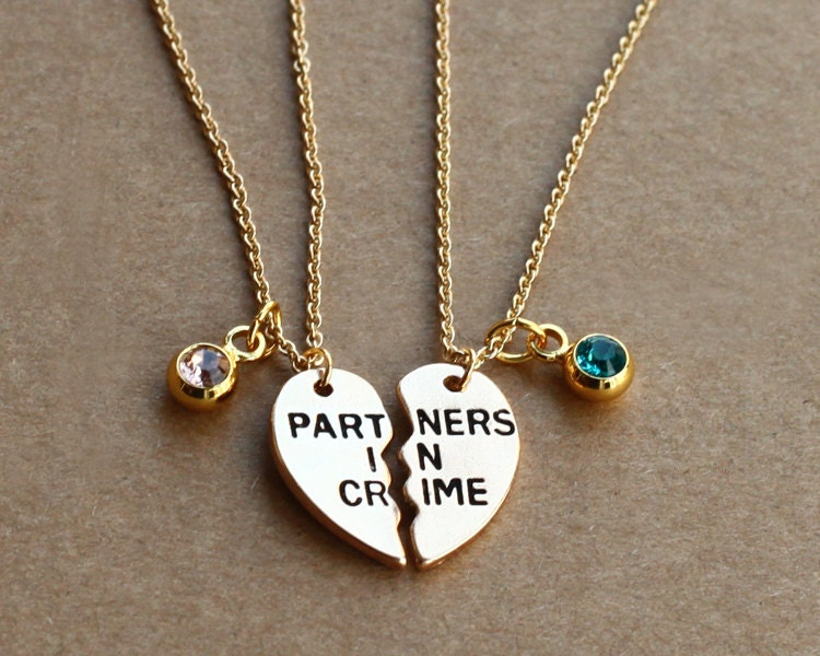 partners in crime necklace birthstone friendship necklace