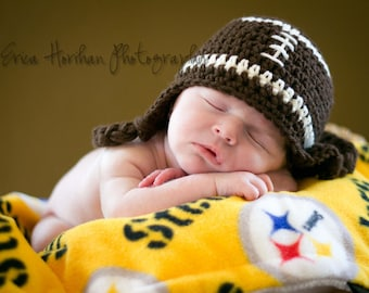 Football Hat, Crochet Toddler Hat, Photography Prop, Toddler Football Hat, Boy Ear Flap Hat, Baby Hat, Crochet Baby Hat, Newborn Hat