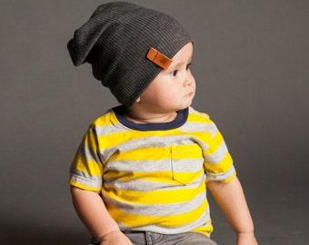 Slouchy Baby Beanie - Charcoal Ribbed